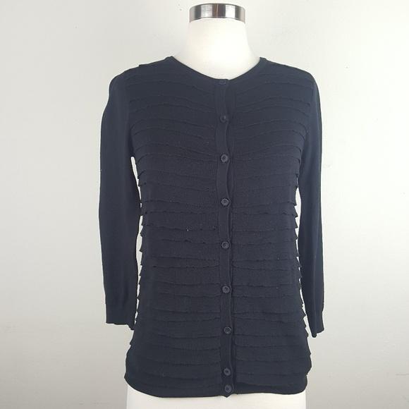 J.crew Black Cotton/wool Ruffled San Remo sz XS